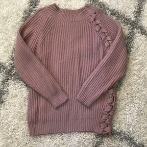 Large lilac Tobi knit with tie detail